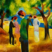 Lady in a green jacket by August Macke as a unique art print