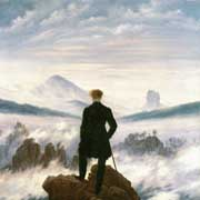 The hiker above the mist sea of Caspar David Friedrich as an art print on canvas or as a framed oil painting