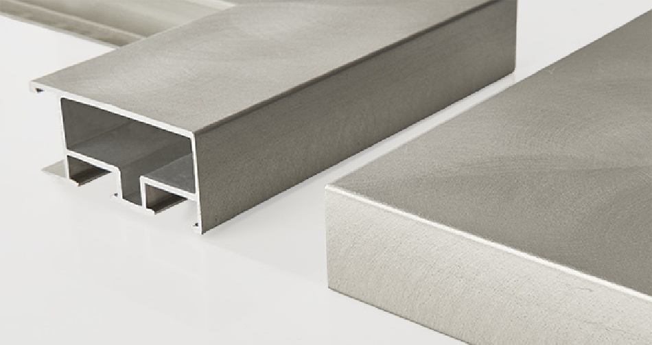 Alu: brushed stainless steal 45x20mm
