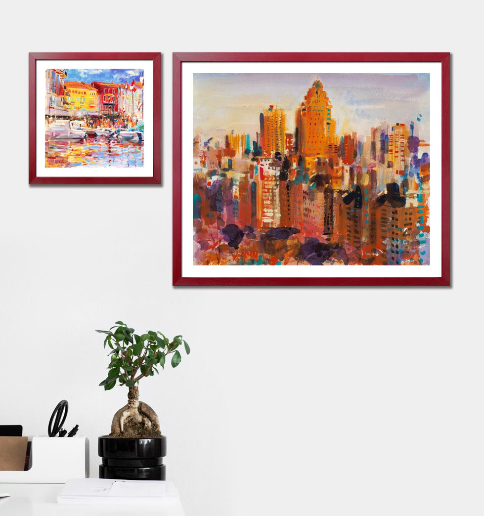 Skylines as murals with frame