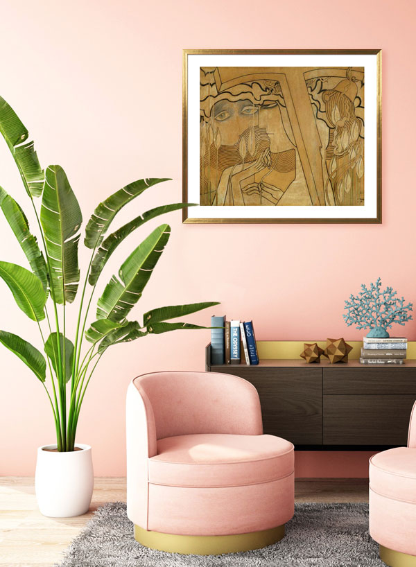 A coral-colored living room in glamorous style
