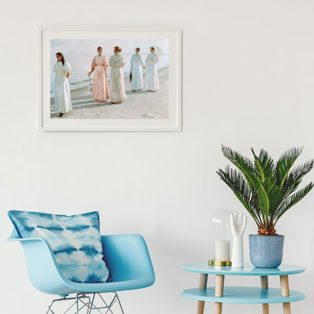 Living room wall painted with beach motif and maritime style