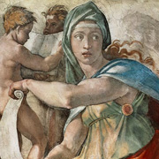 Ceiling painting of the Sistine Chapel, The Delphic Sibyl by Michelangelo
