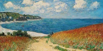 Beach path between wheat fields near Pourville by Monet