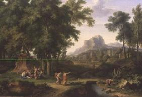 Arcadian Landscape with a Bust of Flora