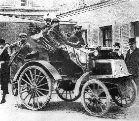 A Panhard-Levassor car winning the first prize, 1891 (b/w photo)