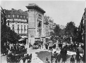 Porte and boulevard Saint-Denis, Paris, c.1900 (b/w photo)