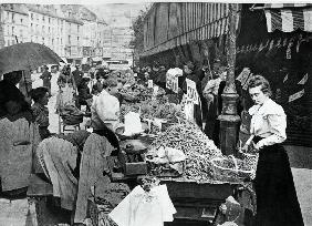 The Street merchant in the rue Mouffetard, Paris, 1896 (b/w photo)