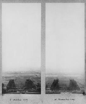Two views of the construction of the Eiffel Tower, Paris, 8th October and 10th November 1887 (b/w ph
