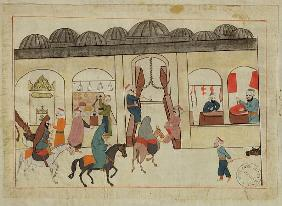 Ms. cicogna 1971, miniature from the ''Memorie Turchesche'' depicting the covered market in Istanbul