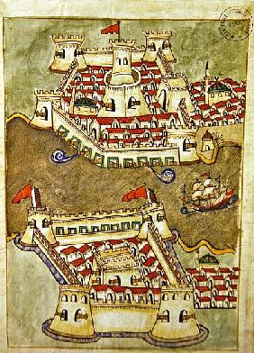 Ms. cicogna 1971, miniature from the ''Memorie Turchesche'' depicting fortresses on the Bosphorus