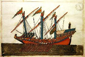 Ms. cicogna 1971, miniature from the ''Memorie Turchesche'' depicting a Turkish galley with a single