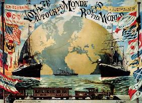 'Voyage Around the World', poster for the 'Compagnie Generale Transatlantique', late 19th century (c