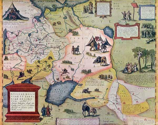 Map of the Russian empire in the sixteenth century, copy of an original of 1571 (colour litho)