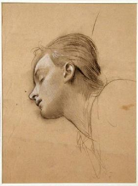 Study of the Head for 'St Cecilia' (charcoal & white chalk on buff paper)