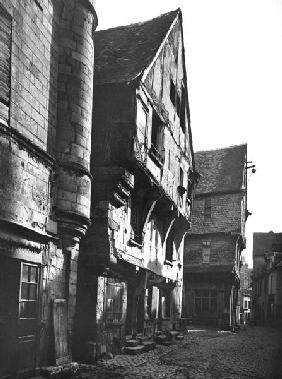 Old houses at Grand Carroi, ancient centre of the city, 15th-16th century (b/w photo)