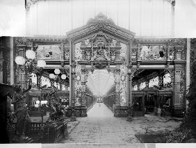 Portico of fabric at the Universal Exhibition of 1889 in Paris (b/w photo)