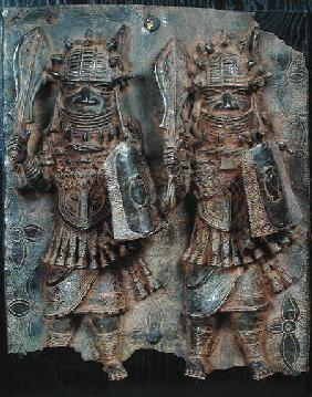Benin plaque with two warriors, Nigeria