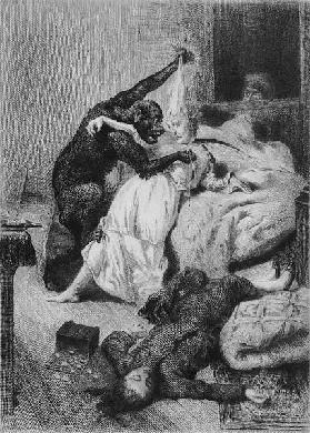 Illustration for ''The Murders in the Rue Morgue'' Edgar Allan Poe (1809-49) ; engraved by Eugene Mi