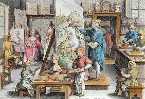 The Invention of Oil Paint, plate 15 from ''Nova Reperta'' (New Discoveries) ; engraved by Philip Ga