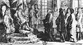 Members of the French Academy presenting the dictionary to Louis XIV (1638-1715) in 1694; engraved b
