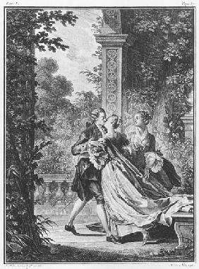The first kiss of love, volume I, page 37, illustration from ''La Nouvelle Heloise'' Jean-Jacques Ro