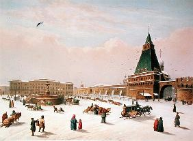 Loubyanska Square in Moscow, printed Louis-Pierre-Alphonse Bichebois (1801-50)