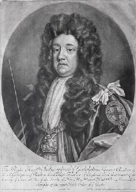 Portrait of Sidney Godolphin (1645-1712) 1st Earl of Godolphin ; engraved by and published by  John