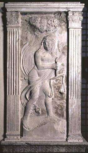 Libra represented by a youth holding scales from a series of reliefs depicting the planetary symbols