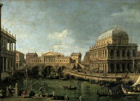 Capriccio with the Ponte di Rialto in Venice after the design of Andrea Palladio and the Basilica in