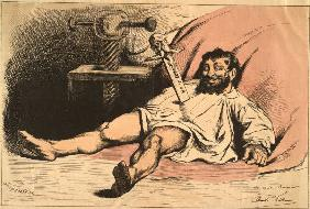 Daumier stabbed by Napoleon/Caric./ 1877