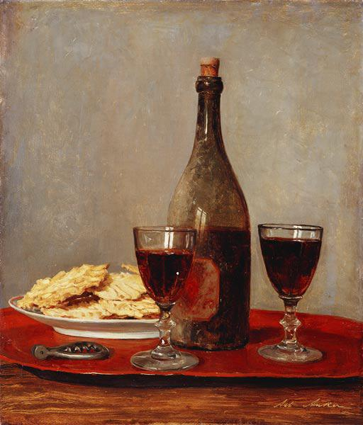 Still life with two glasses of red wine