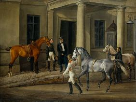 Two noble horses are demonstrated to the lord of the castle.