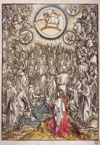 The Lamb of God appears on Mount Sion, 1498 (colour woodcut)