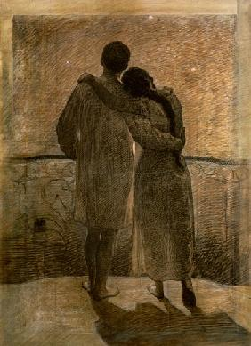Young Couple, central panel from the Dream and Reality Triptych