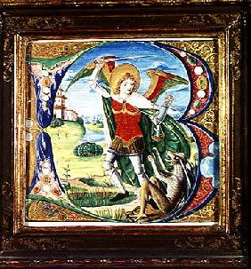 Historiated initial 'B' depicting St. Michael and the Dragon, 1499-1511 (vellum)