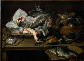 STill Life with Fishes, Seafood, Poultry and Cat