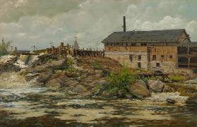 Farnhams Mill at St. Anthony Falls, Minneapolis, 1888 (oil on canvas)