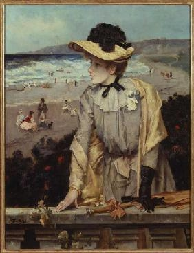 Young woman on the beach (or: Parisienne in front of sea landscape)
