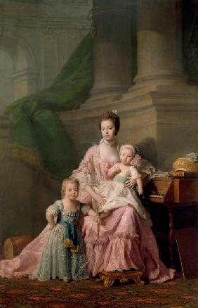 Queen Charlotte (1744-1818), with her Two Eldest Sons