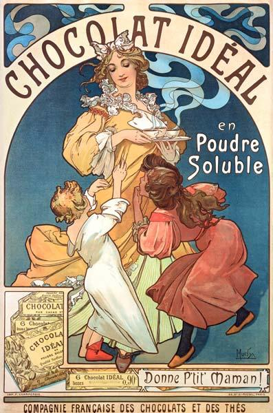 Mucha, Alphonse : Poster advertising ''Choco...