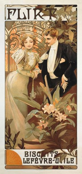 Poster advertising ''Flirt'' biscuits by ''Lefevre-Utile''