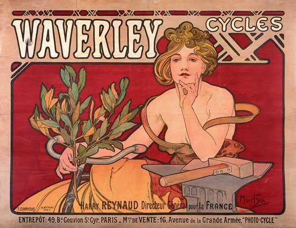 Mucha, Alphonse : Poster advertising ''Waver...