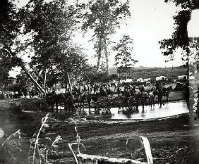 Federal battery fording a tributary of the river Rappahannock on battle day, Cedar Mountain, Virgini