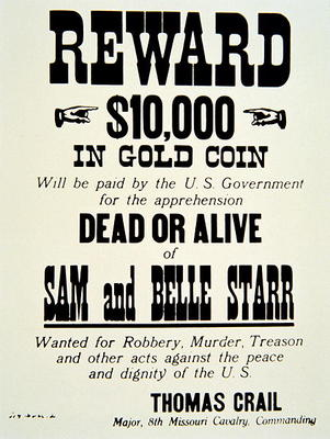 reward poster for belle starr 1848 89 american school 19th