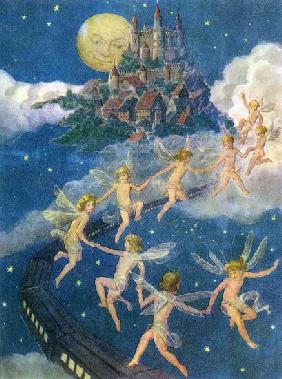 American School, (20th century) : Fairies Flying to a Castle...