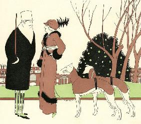 Fashionable Couple with Two Greyhounds