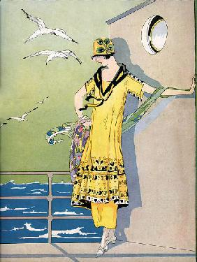 Fashionable Flapper on the Deck of a Cruise Ship