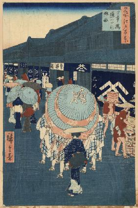 View of the First Street on Nihonbashidori (One Hundred Famous Views of Edo)