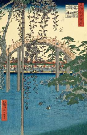 The Bridge with Wisteria or Kameido Tenjin Keidai, plate 57 from ''100 Views of Edo''